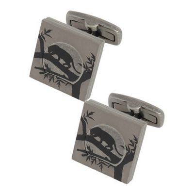 Titanium Plated Panther Print Cufflinks by Duncan Walton