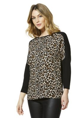 F&F Animal Print Woven Front Top Multi 12