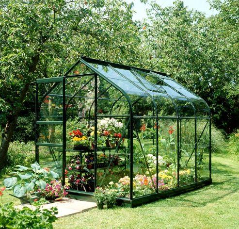 Halls 6x8 Supreme Greenframe Greenhouse + Base-frame - Horticultural Glass