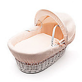 Kinder Valley White Wicker Moses Basket (Waffle Apricot)
