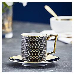 Fox & Ivy Soho Black Espresso Cup & Saucer