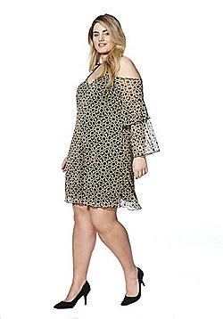 Lovedrobe Geo Print Cold Shoulder Plus Size Dress - Gold & Black