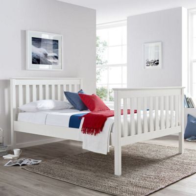 Happy Beds Lisbon Wood High Foot End Bed with Open Coil Spring Mattress - White - 4ft6 Double