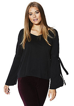 F&F Supersoft Long Bell Sleeve Top - Black