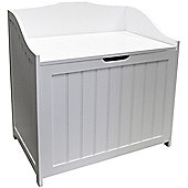Colonial - Tongue And Groove Floor Laundry Basket /storage Hamper - White