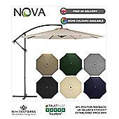 Nova 3m Beige Hanging Crank Operated Cantilever Garden Parasol