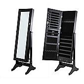 Home Gear Black Mirrored Jewellery Cabinet With Stand