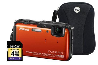 Nikon Coolpix AW110 Orange Camera Kit inc 4GB SD Card and Case