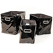Slick - Set Of 3 Gloss Pvc Rectangular Storage / Decorative Baskets - Black