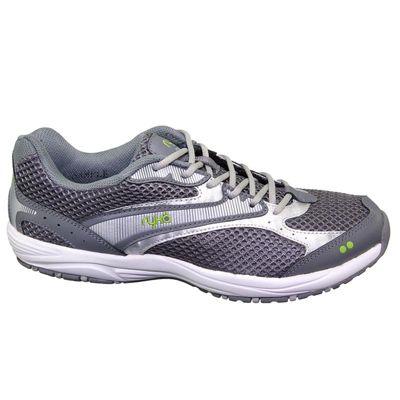 Women's Ryka Dash Walking Trainers Grey-Silver-Lime 3.5