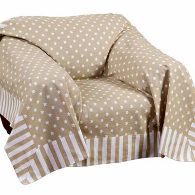 Homescapes Cotton Stars and Stripes Decorative Beige Sofa Throw