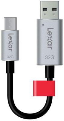 Lexar JumpDrive C20c 32GB USB 3.0 (3.1 Gen 1) Type-A/Type-C Black Silver