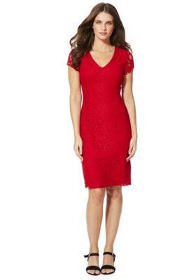 Roman Originals Lace V-Neck Pencil Dress 14 Red