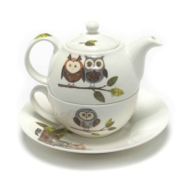 Roy Kirkham RSPB Nature's Way Woodland Owl Tea for One Teapot, Cup and Saucer XRSPBWOOD1201BOXED