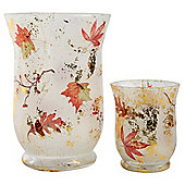 Set of 2 Autumnal Pattern Glass Tea Light Candle Holders