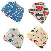 Award Winning, Gift Boxed, Baby Boys Bandana Dribble Bib 4 pack Zoom by Zippy