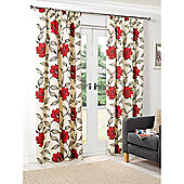 Hamilton McBride Floral Lined Pencil Pleat Curtains - Red
