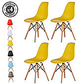 Set of 4 Modern Design Chair Eames Style Dining Chairs (Yellow)
