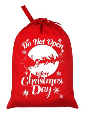 Do Not Open Before Christmas Day Santa Sack 46x60cm, Red