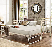 Happy Beds Lyon Metal Day Bed and Underbed Trundle Guest Bed with 2 Open Coil Spring Mattresses - Cream - 3ft Single