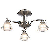Modern 3-Arm Satin Nickel Ceiling Light with Frosted & Clear Shades