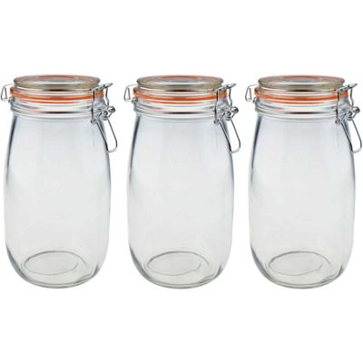 Argon Tableware Preserving / Biscuit Glass Storage Jars - 1500ml - Pack of 3