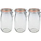 Argon Tableware Preserving / Biscuit Glass Storage Jars - 1500ml - Pack of 3