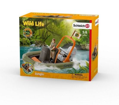 Schleich 42352 Wild Life Dinghy With Ranger Toy