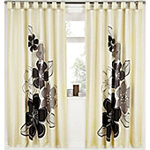 Black Floral Print Curtains 72s