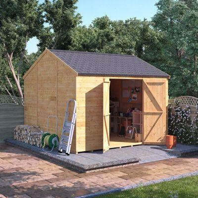 10x10 Tongue and Groove Wooden Workshop Garden Shed Double Door Windowless Reverse Apex Premium Roof Floor Felt 10ftx10ft