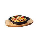 Zodiac Round Mini Cast Iron Skillet Sizzle Casserole Dish with Wooden Trivet