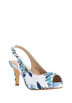 F&F Sensitive Sole Peep-Toe Slingback Heels - Multi