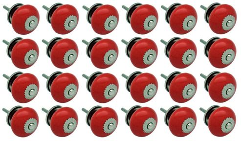 Ceramic Cupboard Drawer Knobs - Red - Pack Of 24