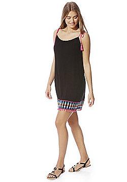 F&F Embroidered Pom Pom Trim Beach Dress - Black