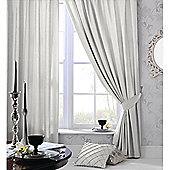 Catherine Lansfield Plain Faux Silk Silver Curtains - Silver