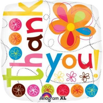 Thank You Colourful Flowers Balloon - 18 inch Foil