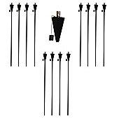 Garden Fire Torch - Oil / Paraffin Black Lantern - 1460mm Triangle Design - Pack Of 12