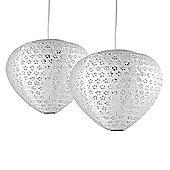 Pair of Plectrum White Paper Lantern Ceiling Shades & Floral Cut Out Design