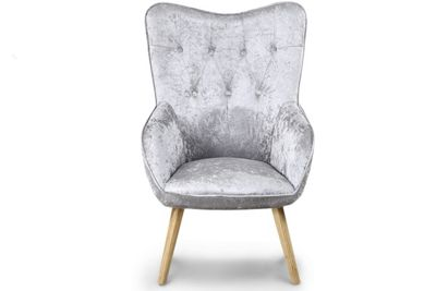 Alton Modern Silver Crushed Velvet Fabric Occasional Accent Chair