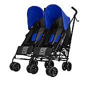 OBaby Apollo Twin Stroller (Grey Stripe/Blue)