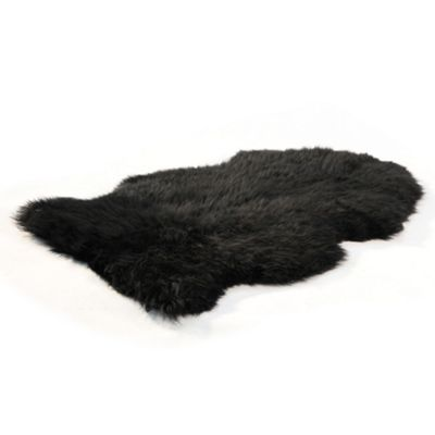 Bowron Sheepskin Long Wool Gold Star Rug in Black - 180cm H x 60cm W (Two Piece)