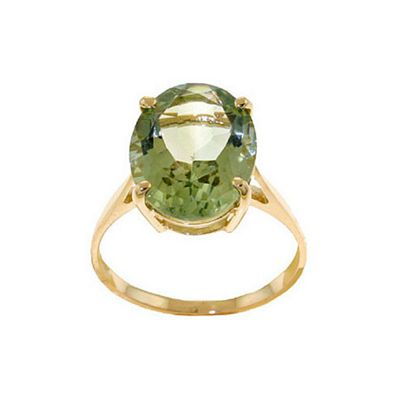 QP Jewellers 7.55ct Green Amethyst Valiant Ring in 14K Gold - Size S 1/2