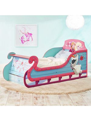 Disney Frozen Sleigh Toddler Bed With Underbed Storage Plus Deluxe Foam Mattress