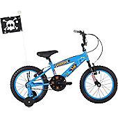 "Bumper Pirate 16"" Wheel Kids Pavement Bike Blue Stabilisers"