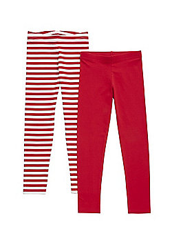 F&F 2 Pack of Plain and Striped Leggings - Red