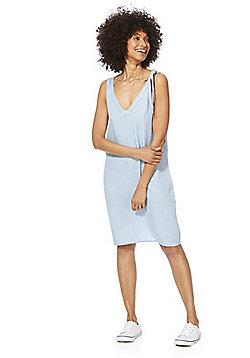 Noisy May Tie Shoulder Chambray Dress - Light Wash