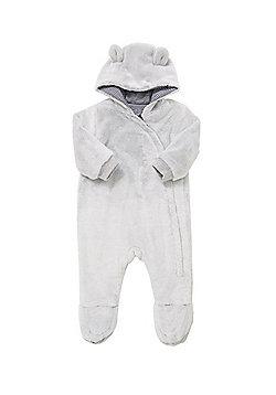 F&F Teddy Bear Faux Fur Pramsuit - Grey
