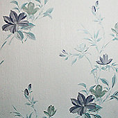 Superfresco Reed Metallic Floral Blue Wallpaper