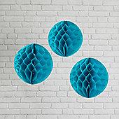 Set of 3 Teal Paper Honeycomb Decorations