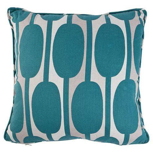 Tesco Cushions Retro Print Cushion, Teal